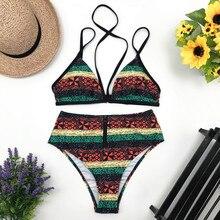 Купить с кэшбэком Sexy Women High Waist Bikini Push Up 2019 Swimwear Summer Halter Top Swimsuit Bandage Printed Bathing Suit Female Swim Wear