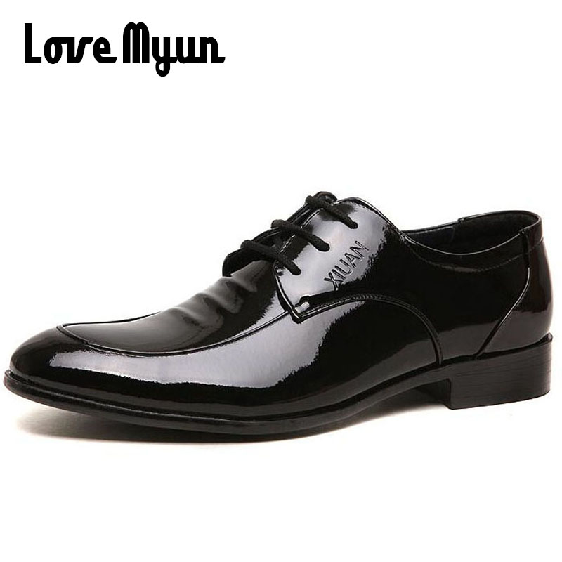 Fashion mens dress shoes low heels mens patent leather lace up black shoes wedding business Oxfords mens Pointed toe flats AB-38 mycolen mens shoes round toe dress glossy wedding shoes patent leather luxury brand oxfords shoes black business footwear