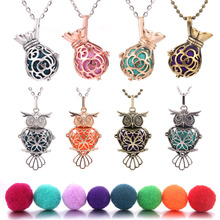 Owl Aromatherapy Necklace Pendant Jewelry Vintage Open Locket Essential Oil Diffuser Perfume Scent Aroma Necklaces