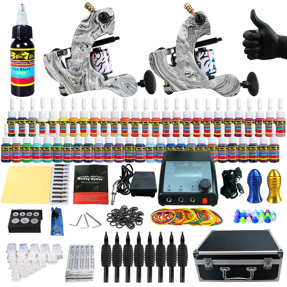 ФОТО Solong Tattoo Complete Tattoo Kit 2 Pro Machine Guns 54 Inks Power Supply Foot Pedal Needles Grips Tips Carry Case TK259