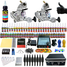 Solong Tattoo Complete Tattoo Kit 2 Pro Machine Guns 54 Inks Power Supply Foot Pedal Needles Grips Tips Carry Case TK259