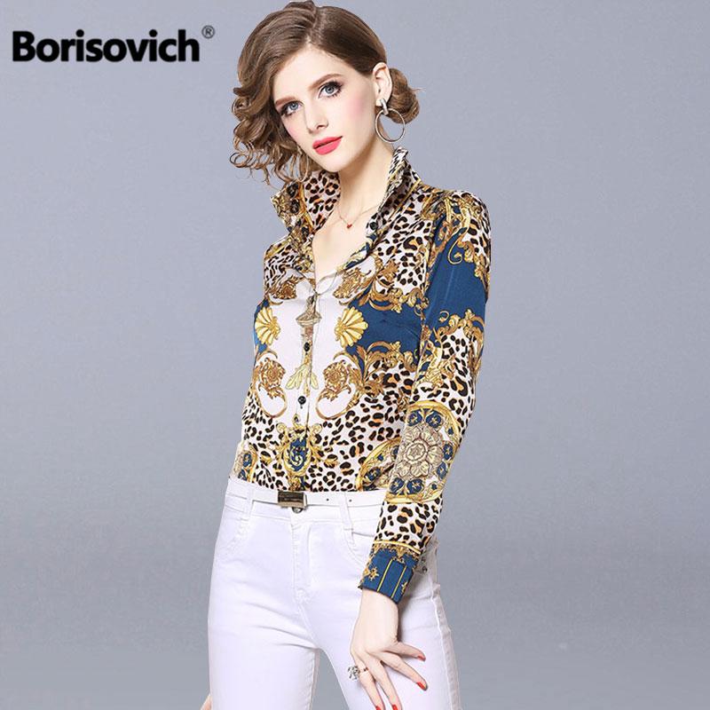 Borisovich Leopard Print Female Elegant   Shirt   New Brand 2019 Spring Fashion Turn-down Collar Women Casual   Blouses     Shirts   N550