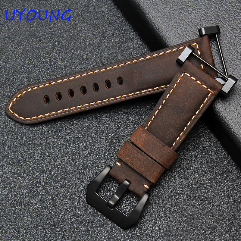 Hot Sale Quality Crazy Horse Leather Watch Band 24mm Khaki  For Suunto Essential Watch Strap Suunto Core Watchband