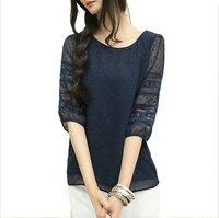 Korea Style Plus Size Sheer Blouses Short Sleeve Blusas Chiffon Shirts Big Size Women Clothes Summer