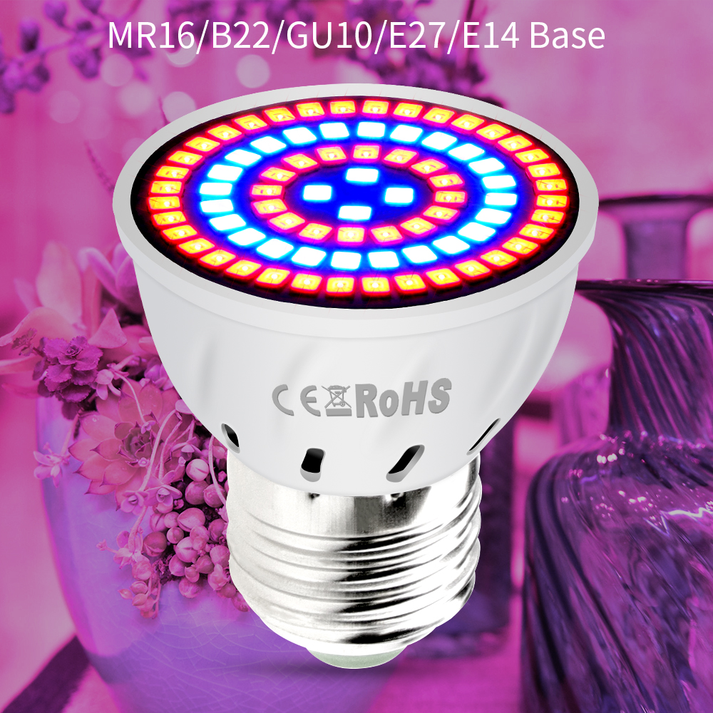 GU10 phytolamps E27 LED fullur litróf MR16 LED díóða lampar plöntur 48 60 80 LED díóða s B22 Plant vaxandi lampi fyrir gróðurhús ...