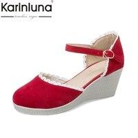 Karinluna 2018 Fashion Buckle Strap Women Summer Shoes Woman Red Black Wedge High Heels Party Wedding Sandals Size 34-39