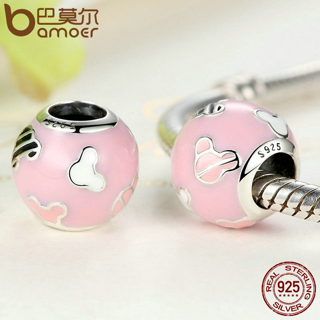 Sterling Silver Pink Cartoon Miki Beads Charm