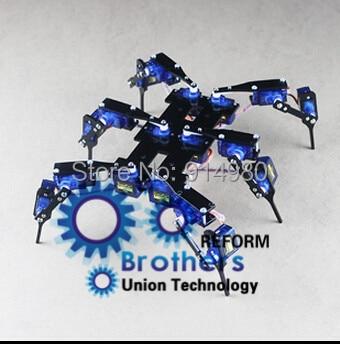 Six foot / 6 foot black spider robot robot full servo bracket accessories RC Mini Robot Steering bracket +18 servo+AA Super Glue