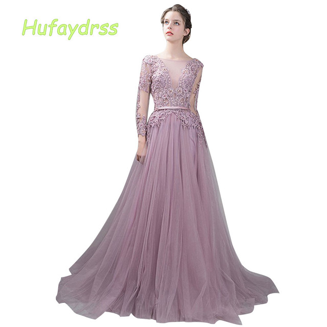 Pale Mauve Scoop Evening Dresses A-Line 2018 Lace Long Sleeves Beads V Back  Exquisite Evening Gowns Feathers robe de soiree 3915 d1cbef1164ef
