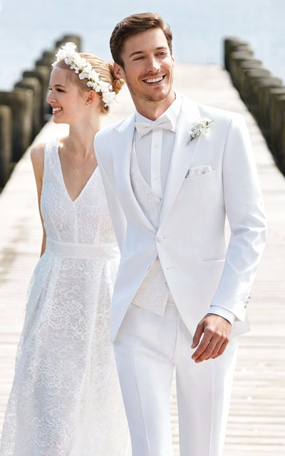 Tailor Made White Wedding Suits For Men Slim Fit Casual Groom Prom ...