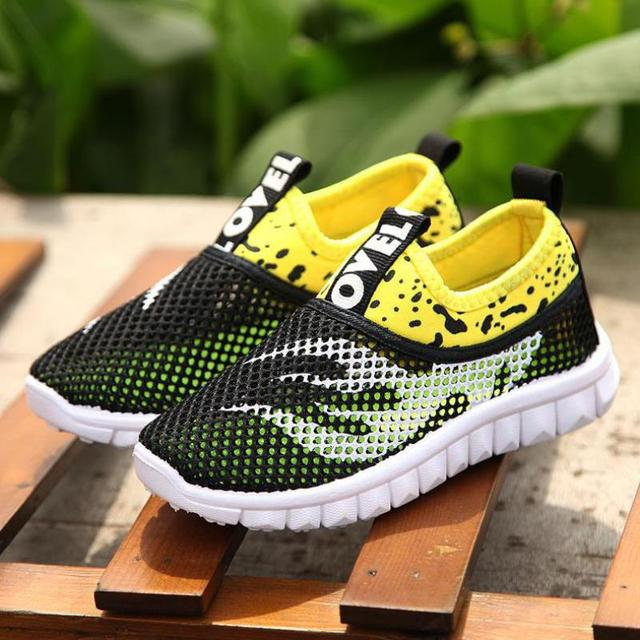 Summer Boys Girls Running Shoes Kids Sneakers For Mesh Breathable Children Sports Shoes Shock Absorption Soft Rubber Sole School