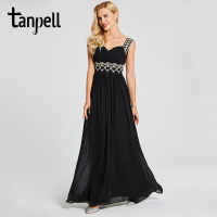 Tanpell Straps Long Evening Dress Black Sleeveless Floor Length A Line Gown Cheap Lady Beaded Pleats