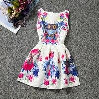 Design de mode Hibou de bande dessinée sans manches Oneck casual filles robe genou-longueur coloré caractère robes bonne qualité filles vêtements