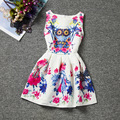 Fashion design cartoon Owl sleeveless Oneck casual girls dress knee-length colorful character dresses good quality girls clothes