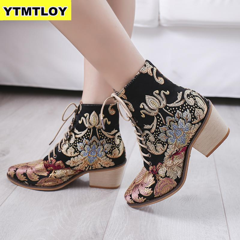 Retro Bohemian Women Boots Printed Ankle Vintage Motorcycle Booties Ladies Shoes Woman 2019 New Embroider  High Heels Boots 4