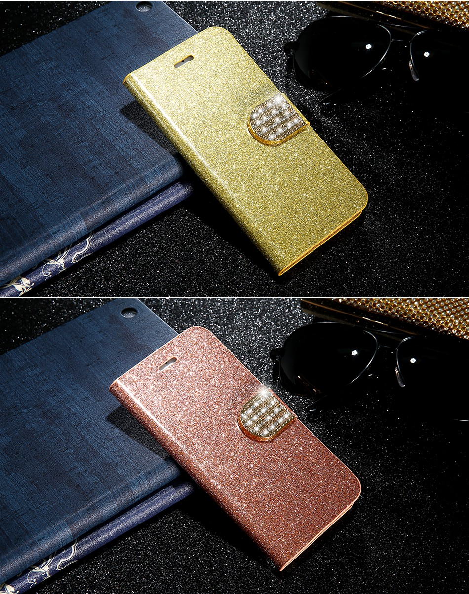 FLOVEME Luxury Bling Diamond Glitter Flip Case for Apple iphone 6 6S 7  Plus 5.5 Leather Girl Bag Wallet Stand Rhinestone Cover (11)