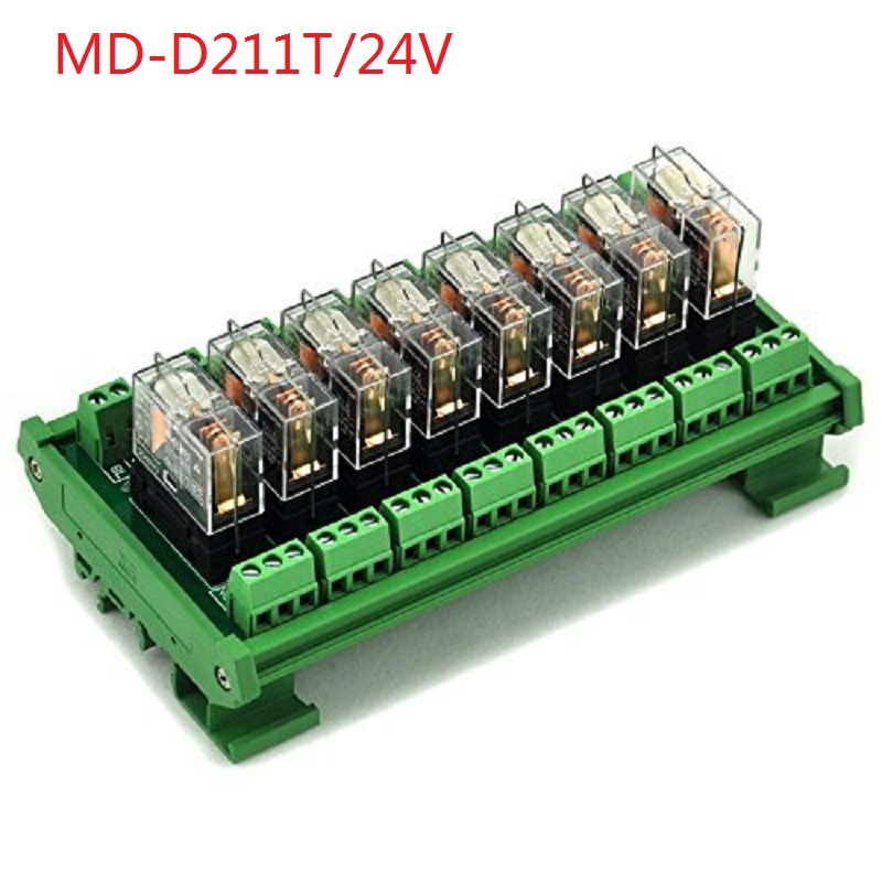 Electronics-Salon DIN Rail Mount AC/DC 24V Control 8 SPDT 16Amp Pluggable Power Relay Module, G2R-1-E