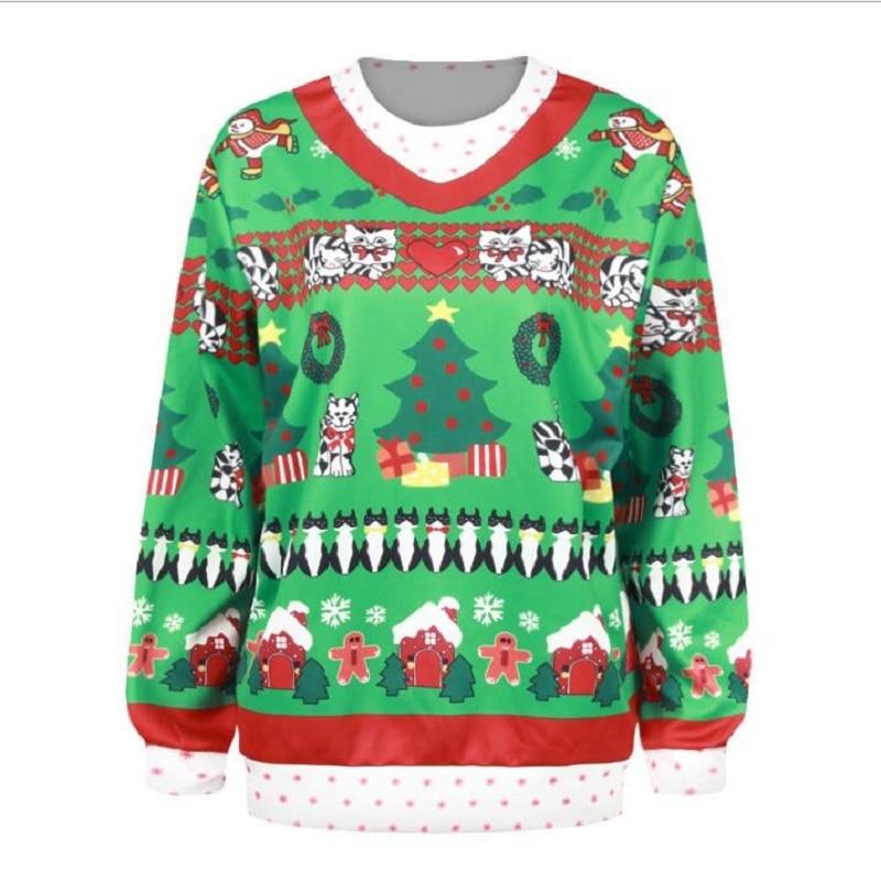 OUCAG New Christmas Hooded Sweatshirts Women Hoodies Digital Long Sleeve Printed Hooded Santa Sweater Pullovers