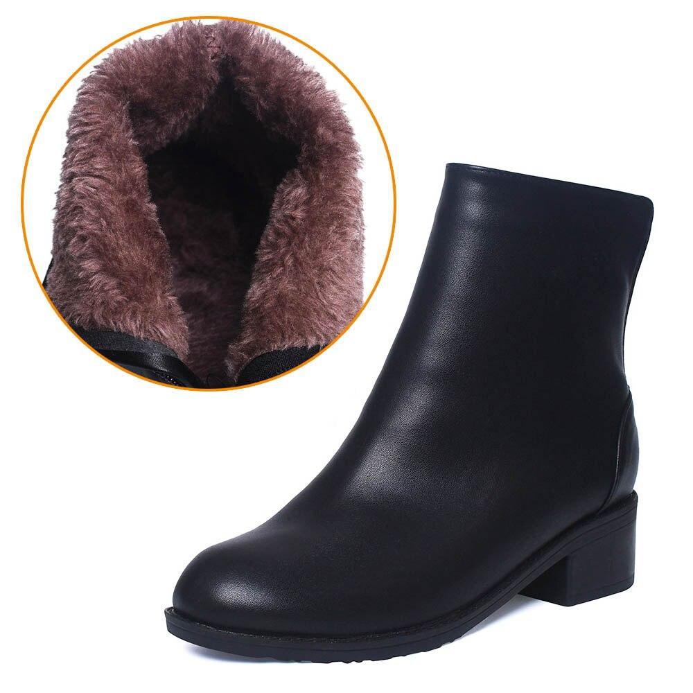 Frauen Stiefel Stiefeletten 2018 Winter Schuhe Pelz Chunky Ferse frauen Stiefel Zipper Round Toe Marke Frau Botas Schwarz plus Größe 41 42