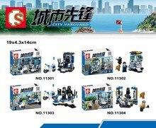 SY11301-11304 Urban Pioneer Guard Patrol Soldier Minifigures Sheng Yuan Building Block Minifigure Toys Compatible Legoe