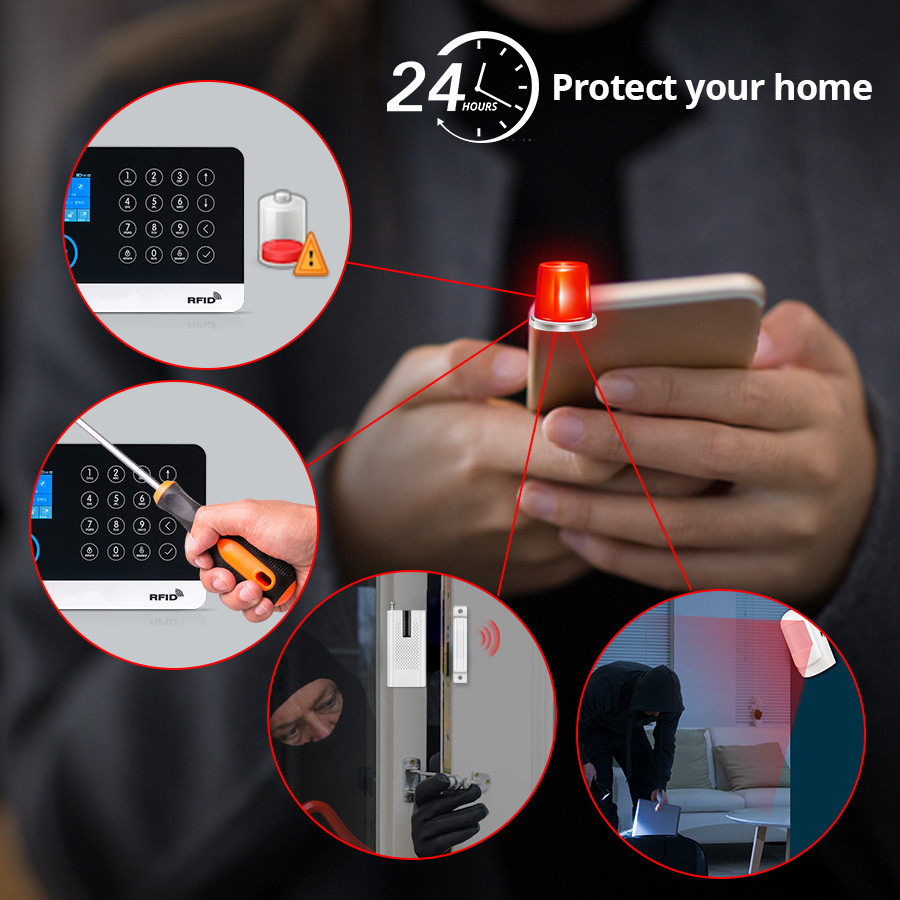 Image 3 - 2019 New FUERS WG11 WIFI GSM Wireless Home Security Alarm System APP Control Siren RFID PIR Motion Detector Smoke Sensor DIY Kit-in Alarm System Kits from Security & Protection