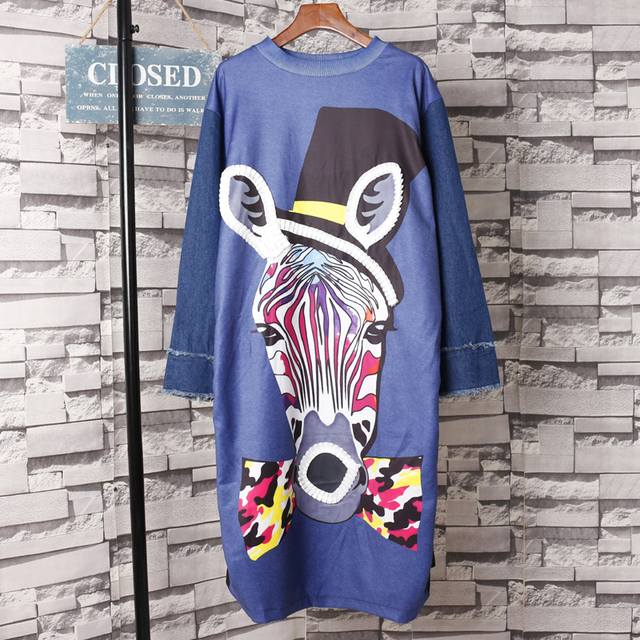 2a87038d1b Women Street Wear Cartoon Hat Zebra Print Long Sleeve Dress Novelty Denim  Spliced Sleeve Plus Size Dress O-Neck Tshirt Dress