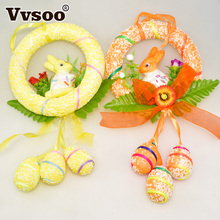 Vvsoo 1pc Easter Eggs Rabbit Foam Hanging Crafts Decorations Baskets Ornaments Decor Party Home Decorations