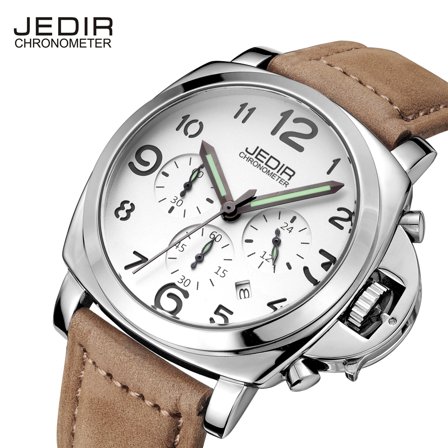 Quartz Watches For Men From JEDIR Top Brand Luxury Leather waterproof watch Man Clock commercial Male wristwatch genuine jedir quartz male watches genuine leather watches racing men students game run chronograph watch male glow hands