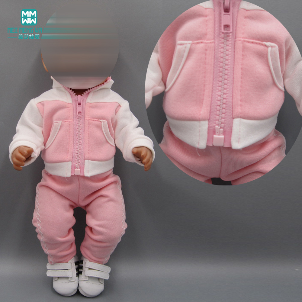 Baby Clothes For Doll Fit 43cm New Born Doll Accessories Fashion Pink Sportswear Casual Suit