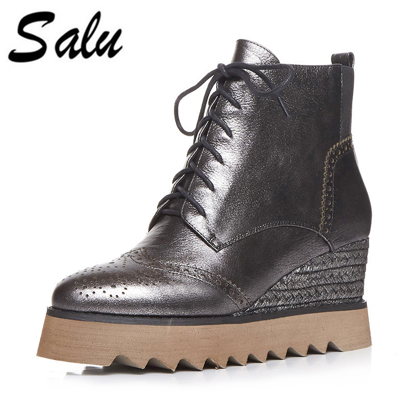Salu 2018 new Women Boots Handmade Genuine Leather Soft Outsole Shoes Lacing UP black Flat Ankle Boots For Women genuine leather handmade women s shoes spring cutout cool women boots hole shoes vintage soft outsole flat sandals s31904 19