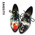 2017 Primavera crin charol Punta estrecha Mujeres Zapatos Oxford Casual Imprimir Flor Mujeres Holgazán Zapatos Planos de tacón Bajo