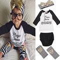 2017 Estilo Del Verano Carta Rayado Impreso Toddler Baby Girl Clothes conjunto Diadema con Calentador de La Pierna PP Pantalones 4 Unidades Trajes moda