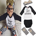 2017 Summer Style Letter Striped Printed Toddler Baby Girl Clothes Set Headband with Leg Warmer PP Pants 4 Pieces Suits Fashion