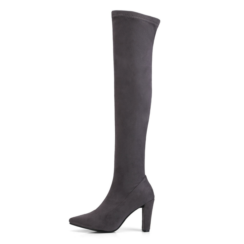 AIWEIYi Pointed toe Knee High Boots Flock Square High Heels Over the Knee Boots Stretch Fabric Motorcycle Boots