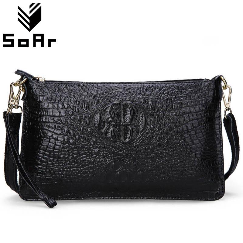 SoAr Women Bag Genuine Leather Crocodile Pattern Handbags Women Messenger Bags Crossbody Female Small Shoulder Bag Clutch Brand