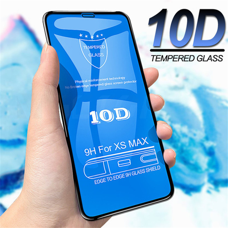 10D Full Cover Protection Glass On The For Iphone 7 X Glass Iphone XR XS Max Tempered Glass For Iphone 8 6 Plus Screen Protector