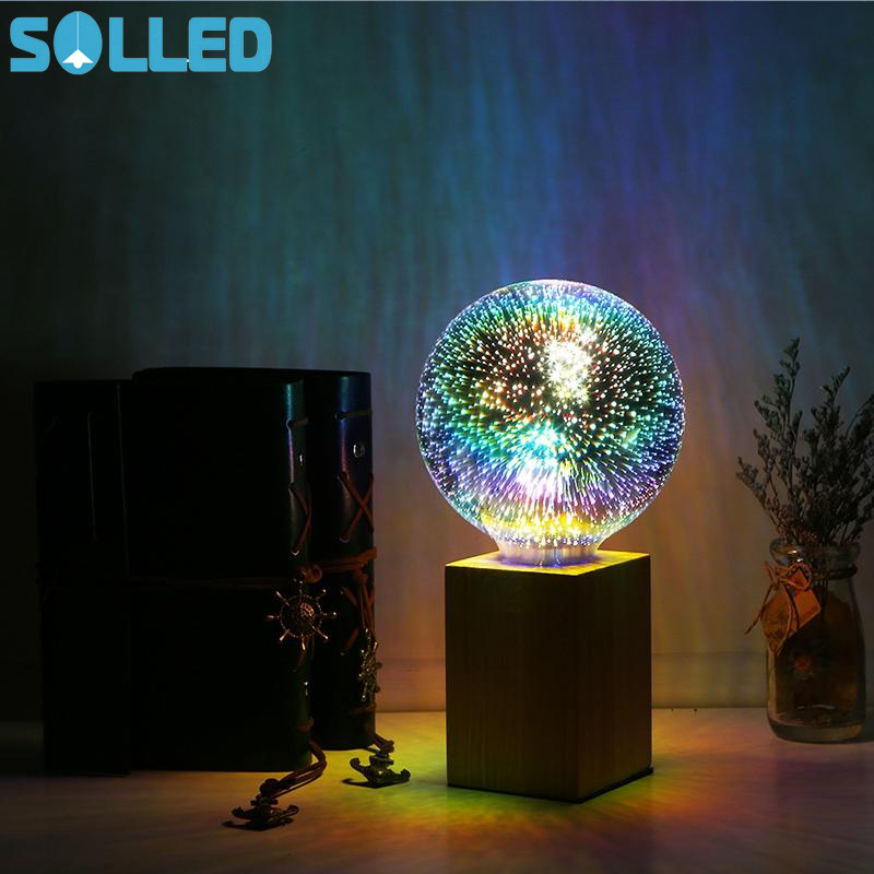 SOLLED LED 3D Colorful Creative Decorative Lights Bulb Fireworks Lamp Scene Design Light
