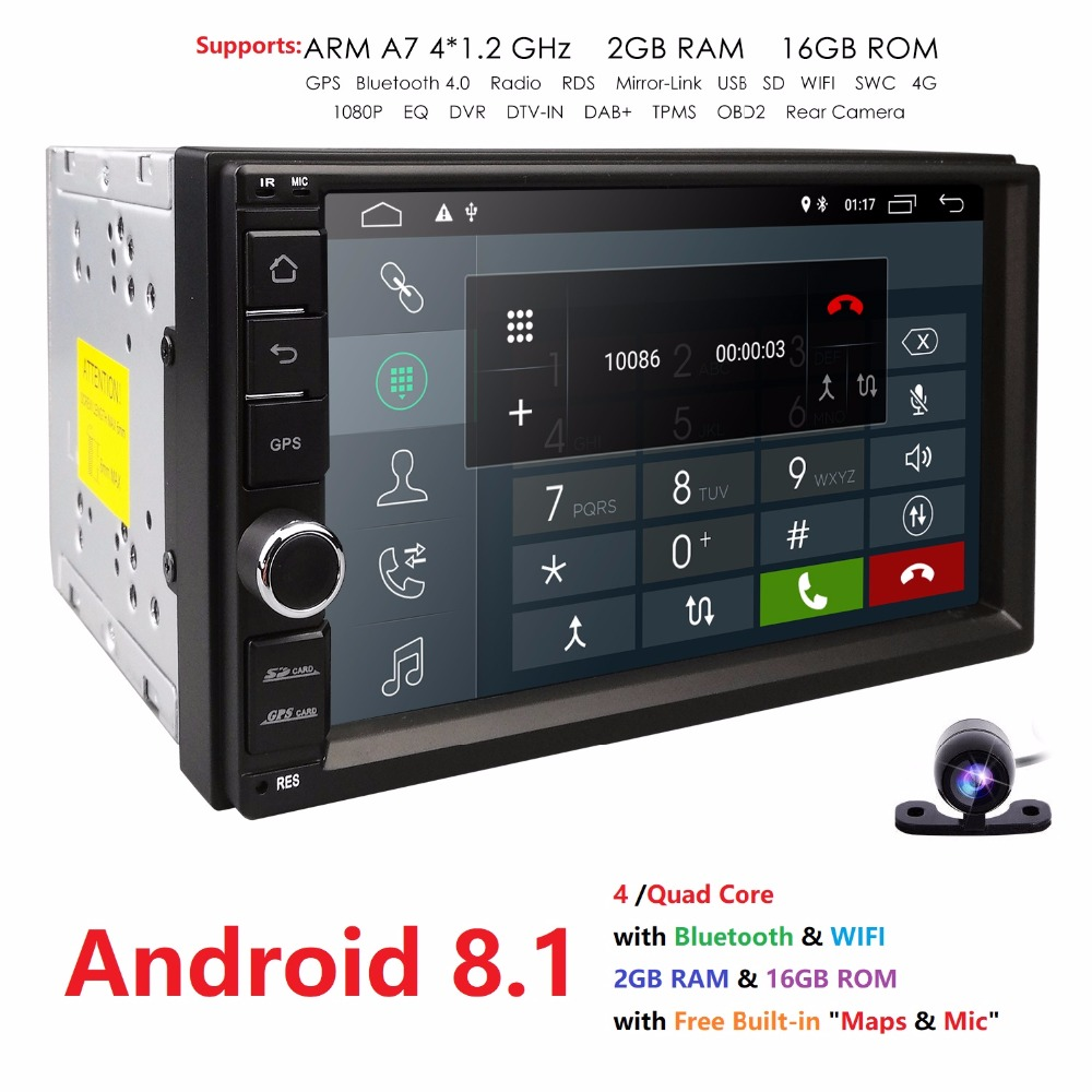 "Hizpo Android8.1 Car Multimedia Player Universal Car GPS Player 7""Touch Car Radio BT Car autoradio Audio Stereo Rear View Camera"