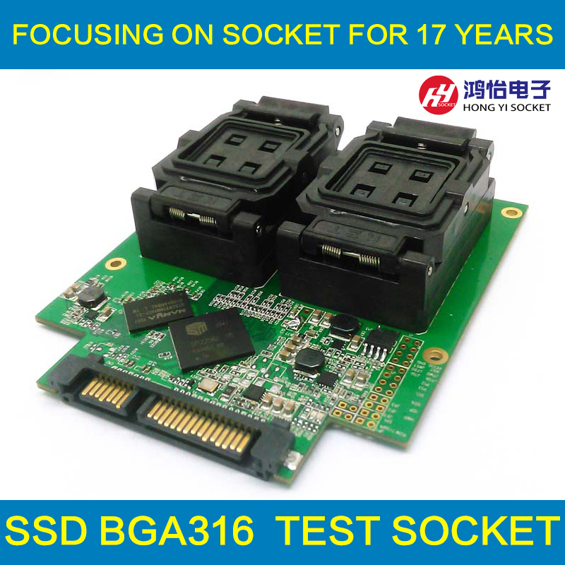 BGA316 clamshell test fixture with SM2256K main controller for test SSD chips and open Card with High Speed