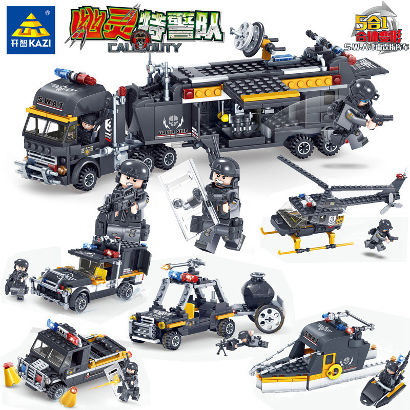 KAZI SWAT Team Command Vehicle Car 3D DIY Model Building Blocks Bricks Compatible With Legoe City Police Toys For Children Boys b1600 sluban city police swat patrol car model building blocks classic enlighten diy figure toys for children compatible legoe