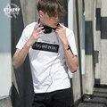 ATHIEF Camiseta cuello redondo Delgado de algodón ocasional de los hombres de manga corta letras Europeas y Americanas impreso base