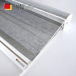 Wysokiej jakości nowa gruba tkanina zebra rolety pełny odcień dzień noc rolety duży system Valance rolety łóżko salon