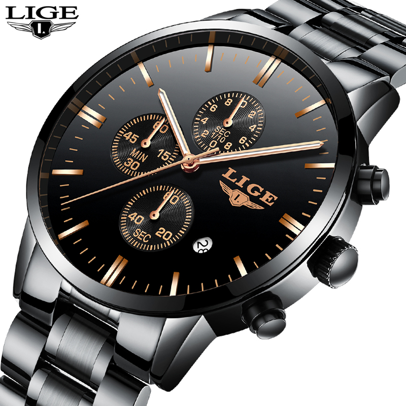 LIGE Mens Watches Top Brand Luxury Men's Military Waterproof Sports Watch Men's Stainless Steel Quartz Clock Relogio Masculino relogio masculino mens watches lige top brand luxury male waterproof military sports watch men stainless steel quartz clock box