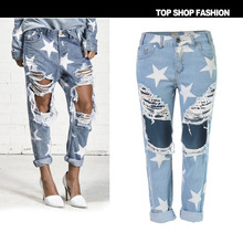 6126ba87e6d TREND-SetteR 2018 Autumn Ripped Jeans for Women Five-pointed Star Hole Jeans  Hip. 2 Colors Available