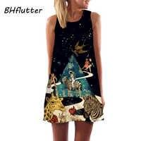 BHflutter 2018 Summer Dress Women New Arrival Sleeveless Brief Chiffon Dress A-line Digital Print Dress Casual Mini Boho Dresses