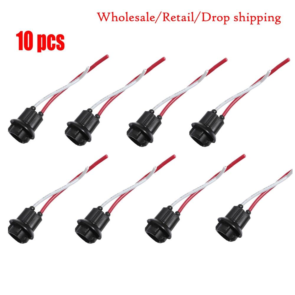 10pcs T10 W5W LED Light Wire Harness Holder Connector 168 194 Car Lamp Holder Socket Glass Base Lamp Socket DIY LED Bulbs Socket