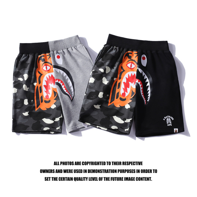 8eeba6066d97 a bathing ape shorts shark head X tiger head stitching shorts bathing ape
