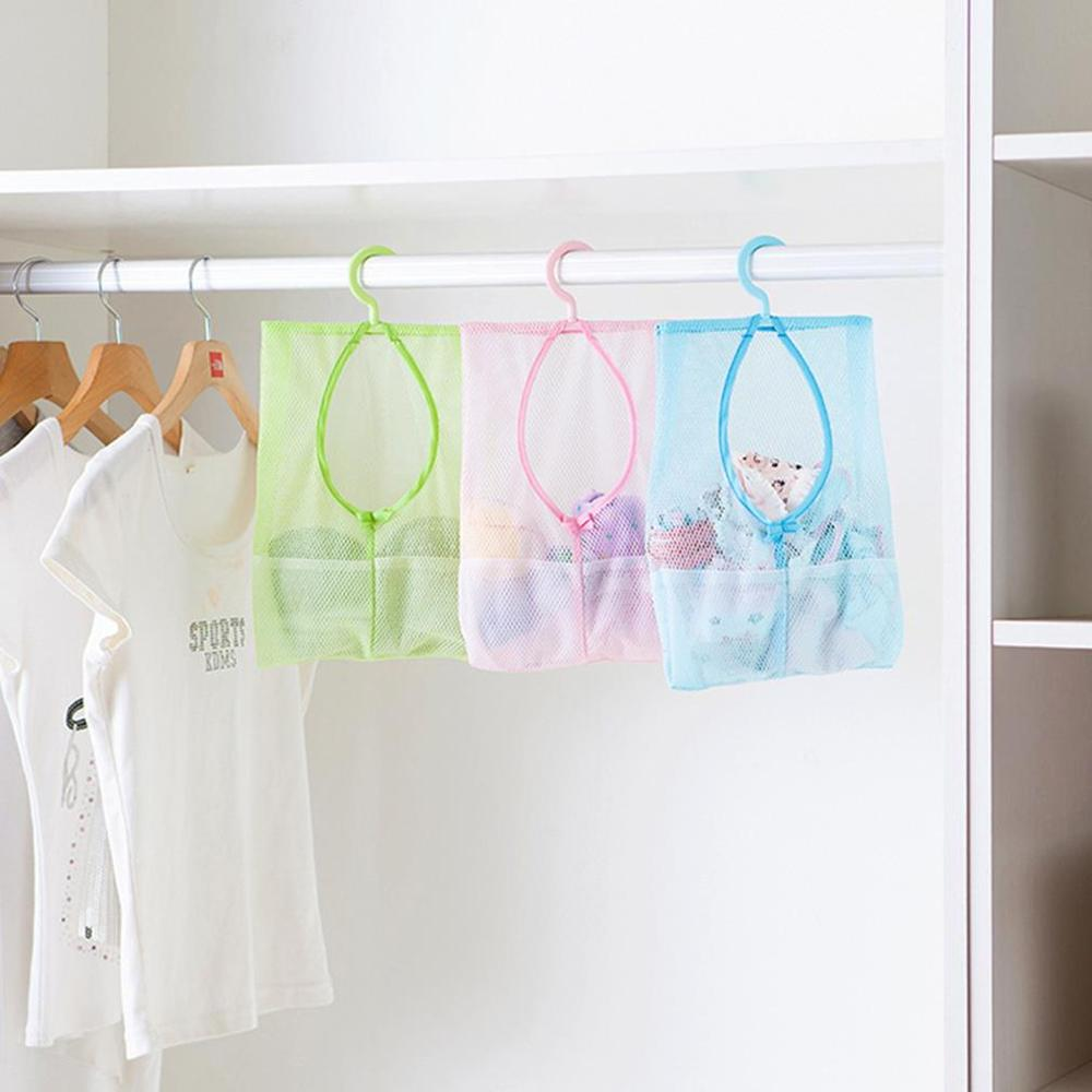 1Pcs Multi Purpose Hang Mesh Bag Clothes Storage Laundry Bags For Bathroom & travel 3 Colors