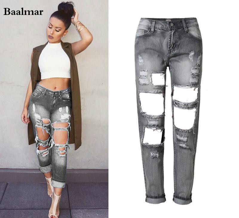 Baalmar Spring Ripped Jeans Female Casual Washed Holes Boyfriend Jeans For Women Regular Long Torn Jeans
