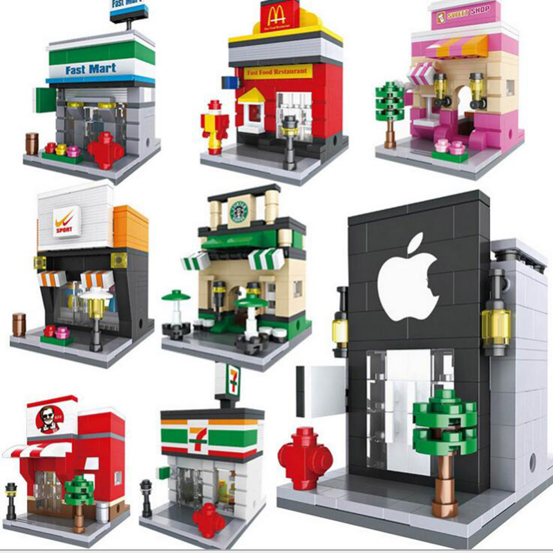 Mini city Street 3D Model blocks playmobil Retail Store Store Coffee Miniature Building Block Toy for the kid architecture toys